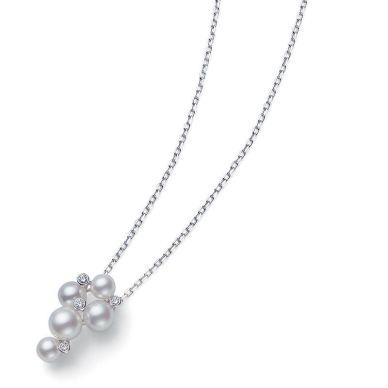 4.75-5.25mm A+ Akoya Pearls and Diamonds Pendant 0.05 cts White Gold 18K MPQ10041ADXW
