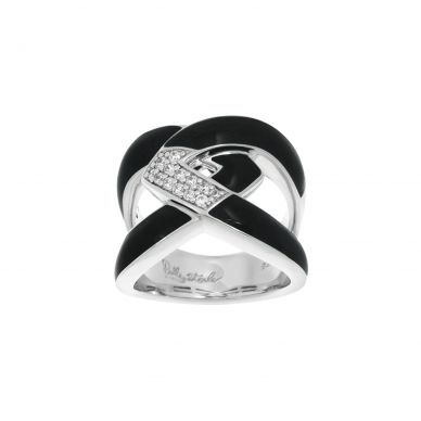Belle Etoile Amazon Black Enamel and Cubic Zirconia Sterling Silver Ring 01-02-14-1-04-01