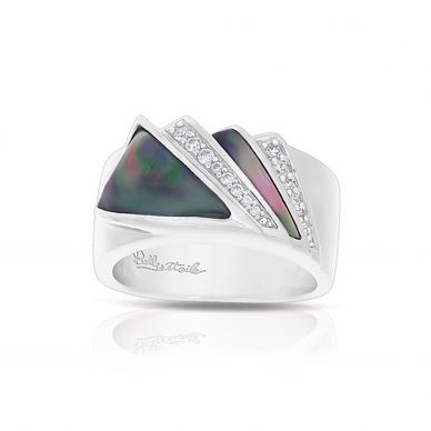Empire Black Mother of Pearl and Cubic Zirconia Ring 01-03-18-1-02-01
