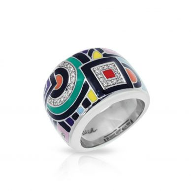 Geometrica Multi-Colored Enamel and Cubic Zirconia Ring 01-02-14-1-02-02