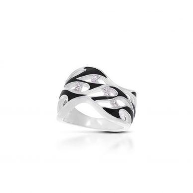 Marea Black Enamel and Cubic Zirconia Ring 01-02-17-1-06-02