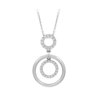 Belle Etoile Concentra Cubic Zirconia and Sterling Silver Pendant 02-01-16-2-01-01