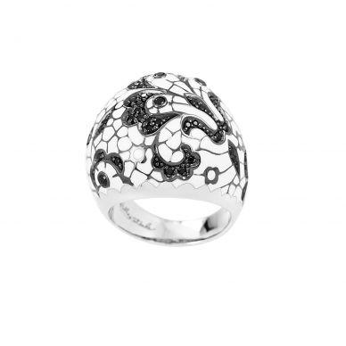Belle Etoile Fleur De Lace White Enamel and Cubic Zirconia Sterling Silver Ring 01-02-11-1-05-02