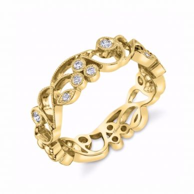 Yellow Gold Floral Diamond Band SJU691R