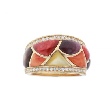 Kabana GRIF410MMS Yellow Gold Mother of Pearl & Spiny Oyster Ring