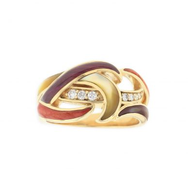 Kabana GRIF593MMS Yellow Gold Mother of Pearl & Spiny Oyster Ring