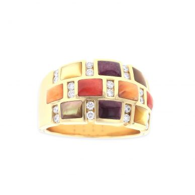 Kabana GRIF611MMS Yellow Gold Mother of Pearl & Spiny Oyster Ring
