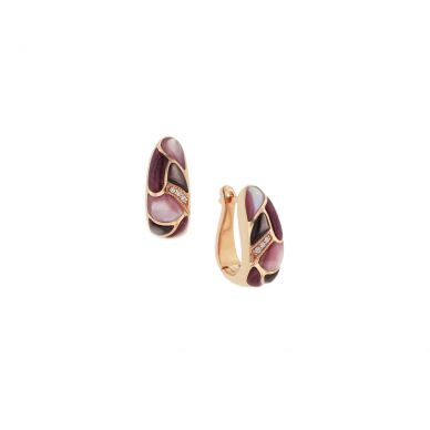 Kabana NECF002MBP Rose Gold Mother of Pearl & Spiny Oyster Earrings