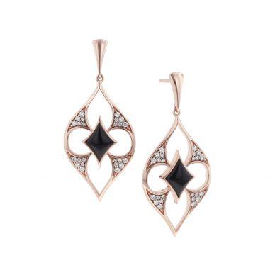 Kabana NECF501OX Rose Gold Diamond and Black Onyx Earrings
