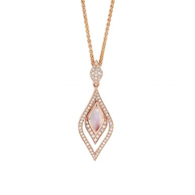 Kabana NPCF266MP-CH Rose Gold Diamond & Pink Mother of Pearl Necklace