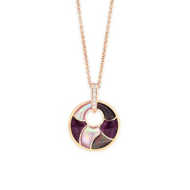 Kabana NPIF055MBP-CH Rose Gold Mother of Pearl & Spiny Oyster Necklace