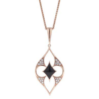 Kabana NPIF088OX-CH Rose Gold Diamond and Black Onyx Necklace