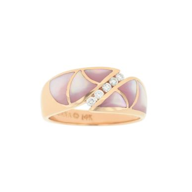 Kabana NRCF643MP Rose Gold Diamond and Pink Mother of Pearl Ring