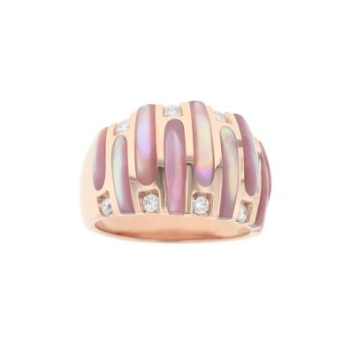 Kabana NRCF913MP Rose Gold Diamond and Pink Mother of Pearl Ring
