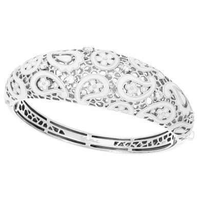 Belle Etoile Koyari Black and White Enamel and Cubic Zirconia Sterling Silver Bangle 07-02-13-2-03-04