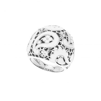 Belle Etoile Koyari White Enamel and Cubic Zirconia Filigree Sterling Silver Ring 01-02-13-2-03-04
