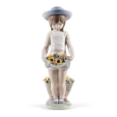 Lladro 01008674 Skirt Full Of Flowers Girl Figurine