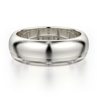 Michael M MB105 7.5mm Men's White Gold Wedding Band
