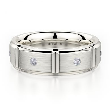 Michael M MB107 7mm Men's White Gold Wedding Band