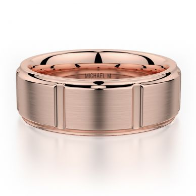 Michael M MB108 8mm Men's Rose Gold Wedding Band