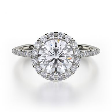 Michael M R440S-1 White Gold Round Engagement Ring