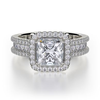 Michael M R466-2 White Gold Princess Cut Engagement Ring