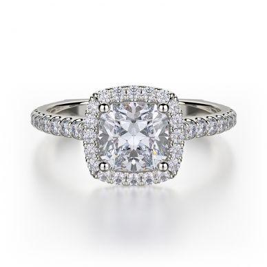 Michael M R559S-1 White Gold Cushion-Cut-Engagement Ring