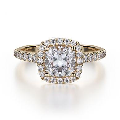 Michael M R559S-1 Yellow Gold Cushion-Cut-Engagement Ring