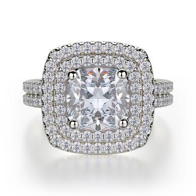 Michael M R560-2 Platinum Cushion-Cut-Engagement Ring
