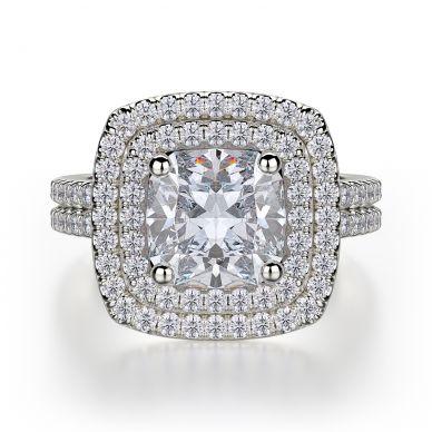 Michael M R560-2 White Gold Cushion-Cut-Engagement Ring