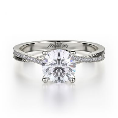 Michael M R575-1 Platinum Round Engagement Ring