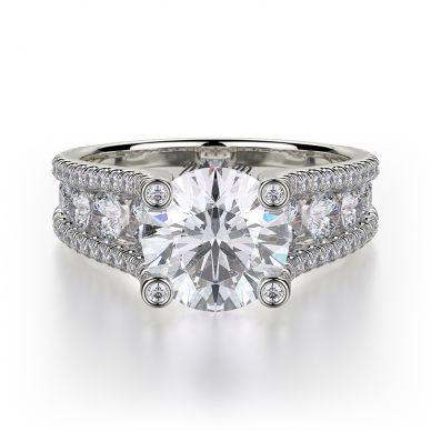Michael M R679-2 White Gold Round Engagement Ring