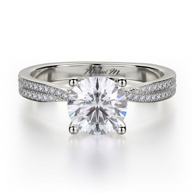 Michael M R694-1 Platinum Round Engagement Ring