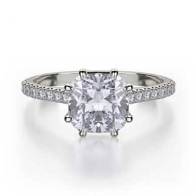Michael M R712-1-5 White Gold Cushion-Engagement Ring