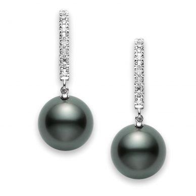 Mikimoto 10 mm Tahitian Cultured Black Pearl and Diamond Drop Earrings PEA1008BDW