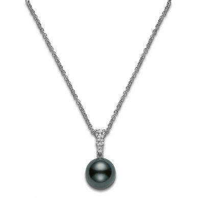 Mikimoto 10 mm Tahitian Cultured Single Black Pearl and Diamond Necklace PPA404BDW