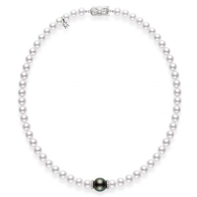 Mikimoto 7 mm Akoya and 11 mm Tahitian White and Black Cultured Pearl and Diamond Necklace UZ705BDW