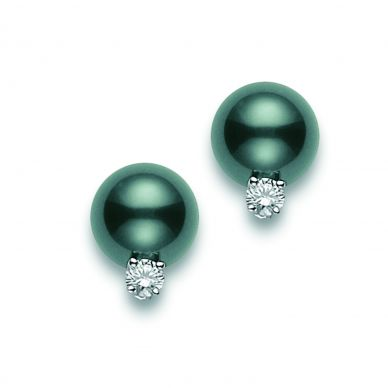 Mikimoto 8.5 mm Tahitian Cultured Black Pearl and Diamond Stud Earrings PES802BDW