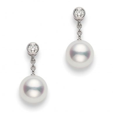 Mikimoto 8 mm Akoya Cultured Pearl and Diamond Drop Earrings PEA1031DW
