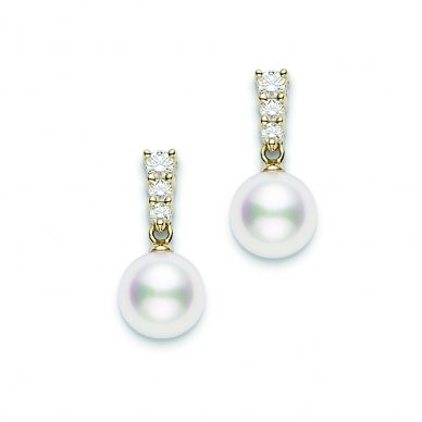 Mikimoto 8 mm Akoya Cultured Pearl and Diamond Drop Earrings PEA642DK