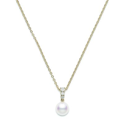 Mikimoto 8 mm Akoya Cultured Single Pearl and Diamond Necklace PPA403DK