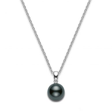Mikimoto 8 mm Tahitian Cultured Single Black Pearl Pendant Necklace PPS802BW