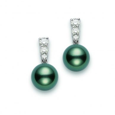 Mikimoto 9 mm Tahitian Cultured Black Pearl and Diamond Drop Earrings PEA643BDW