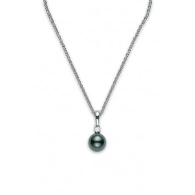 Mikimoto 9 mm Tahitian Cultured Single Black Pearl and Diamond Necklace PPS902BDW