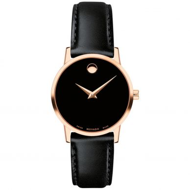 Movado Womens Black and Silver Watch