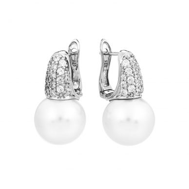 Belle Etoile Pearl Candy White Shell Pearl and Cubic Zirconia Sterling Silver Earrings 102107 GF-A30056-01