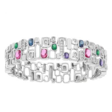 Belle Etoile Pietra Muli-Colored Cubic Zirconia Sterling Silver Bracelet 07-01-16-2-06-01