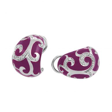 Belle Etoile Royale Orchid Enamel and Cubic Zirconia Sterling Silver Earrings 03-02-09-1-09-06