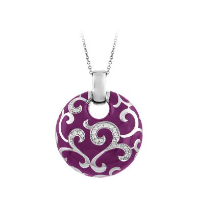 Belle Etoile Royale Orchid Enamel and Cubic Zirconia Sterling Silver Pendant 02-02-09-1-09-06
