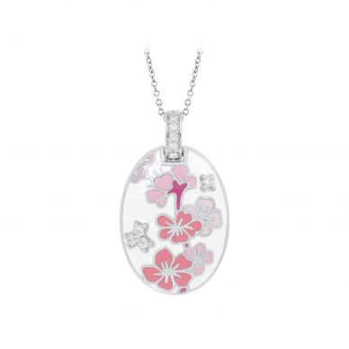 Belle Etoile Sakura White and Pink Enamel and Cubic Zirconia Sterling Silver Pendant 02-02-16-2-05-01